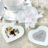 Heart-Shaped Glass Photo Coasters