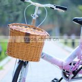 Removable cheap natural wicker bike bicycle basket for pets dogs