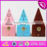 2017 Hot sale antique pyramid design wooden incense holder W02A258-S
