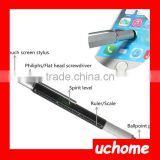 UCHOME 5 in 1 multi function pen with stylus and level , multi tool pen screwdriver pen