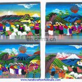 Large Ethnic Tribal Wall Art Oil Painting Canvas Unique Hand Painted Collectible Folk Crafts Affordable Home Goods Artwork Decor