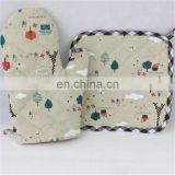 Quilted cotton clip insulated microwave oven gloves linen coaster