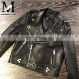 Wholesale Real Leather Jacket High End Fashion Women Harley Leather Jacket Italy Leather Jackets