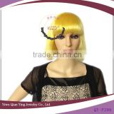 cheap short yellow straight synthetic bob style party wigs