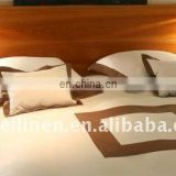 100% pure linen bedding sets in chocoloate color hem