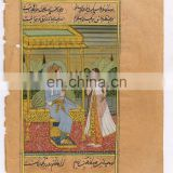 Mughal King & Queen Harem Scene Hand Painted Ethnic Wall Decor Indian Painting Miniature Art