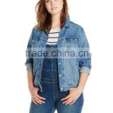 Washed Women&#39;s Plus-Size trucker Jacket Denim <b>jean</b>s