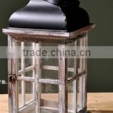 small house lighted table centerpieces,hanging glass candle lanterns,Outdoor Decor Wood Lantern With Metal Top                                                                         Quality Choice