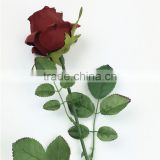 SJ442BZY red artificial single rose flower,fake fabric flowers for sale