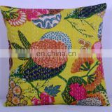 "Kantha Cushion Pillow Cover Handmade Embroidery Work Throw 16"" Indian floral Printed Home Decorative Traditional ethnic Yellow"