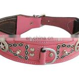 PINK LEATHER DESIGNER DOG HEAD COLLAR
