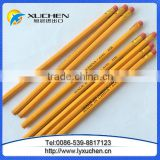 Yellow color Student HB wooden pencils with eraser
