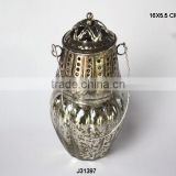 Hanging Glass Votives Tea Light Holder with metal in silver finish