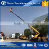 chinese lowest price 6 wheeler left hand drive hydraulic aerial cage truck 20m