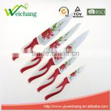 WCE569 5 pcs set Kitchen Knives colorful non-stick blade rubber with PP handles , hot sale