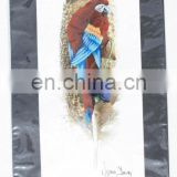 Large Tropical Parrot Painting on Feather Hand Painted Ethnic Tribal Wall Art Unique Exotic Birds Paints Collection Folk Gifts
