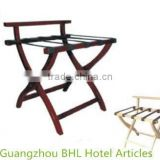 Folding white wood luggage rack for hotel bedroom