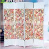 Factory Direct flower decorative 4 panel canvas decorative folding screen room divider GVSD026