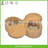 Double Round Bamboo Salt Box/Spice Storage Box/Bamboo Kitchenware/Homex_FSC/BSCI Factory
