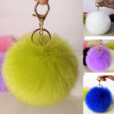 Hot sale big ball plush car keychain furry ball accessories faux fur pom pom