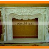 Carved Marble & Granite Fireplace Mantel
