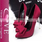 Red shallow mouth bow pointed suede high heel new women shoes 2015