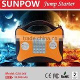 SUNPOW 12V and 24V gasoline and diesel car jump starter booster pack battery charger super power bank with air pump