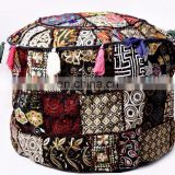 Round Traditional Footstool Cover Indian Latest Patchwork Embroidery Design Ottoman Pouf Cover