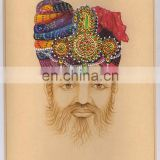 Rajpoot King Turban Man Hand Painted Water Color Traditional Gold Work Painting