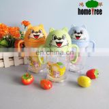children cartoon shape plastic kids school water bottle with straw and double handle