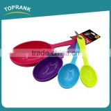 Toprank Walmart Supplier Eco-Friendly 4 Pcs Plastic Measuring Cup Spoon Set With Different Volume Cooking Measuring Spoon Set