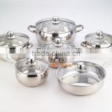metal stainless steel cooking pans and pots , 12 pcs Cooware sets