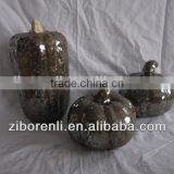 purple crackle glass glass pumpkin ornaments