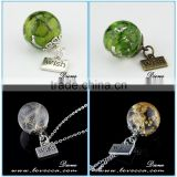 Antique bronze wish pendant jewelry, transparent clear 20mm dandelion resin ball for earring