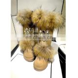 Aidocrystal Warm Ladies Suede Boots Fashion Rhinestone Shoes 2016 Winter Woman Fur Boots