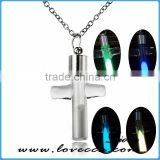 Best Friend Gift Cross Glowing Jewelry Glass Pendant Necklace ,Glow in the Dark Pendant Luminous Neckalce