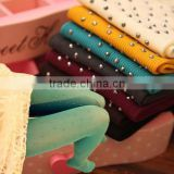 New Fashion Hot Girls Pantyhose Hosiery Rhinestones Drills Vertical Stripe Winter Warm Against Cold Women Velvet Tights