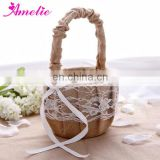 Burlap Wedding Collection Lace Flower Girl Basket