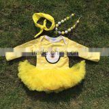 baby clothes Minions white dot boutique baby rompers yellow tutu dress long-sleeve girls matching necklace and bow jump suits