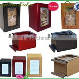 top quality solid wood wooden cat urn for cremation