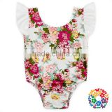 Infant Girls Summer Clothes Ruffle Sleeve Playsuit Flower White Toddler Romper