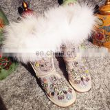 Aidocrystal Handmade Winter style rhinestone decor warm snow boots for little girls
