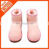 pink classical ankle winter wool boots