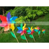 32cm plastic wooden pinwheel rainbow windmill kids toy outdoor decoration