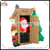 Christmas inflatable santa claus, led lighting inflatable santa toilet. inflatable santa restroom for outdoor decoration