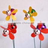 4 Inch Plastic Coated Steel Moving Ladybug Windmill Garden Stake, Insect windmill,Piquet de Jardin