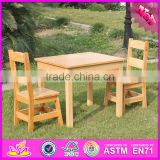 2016 new design natural solid wooden children table and chairs W08G172