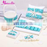 New Turquoise Wedding Sets(Wedding guest book and pen holder,flower basket,ring pillow,garter)