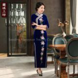 chinese traditional vintage velvet cheongsam qipao