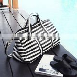 Fashion lady woman black white striped travel bag
